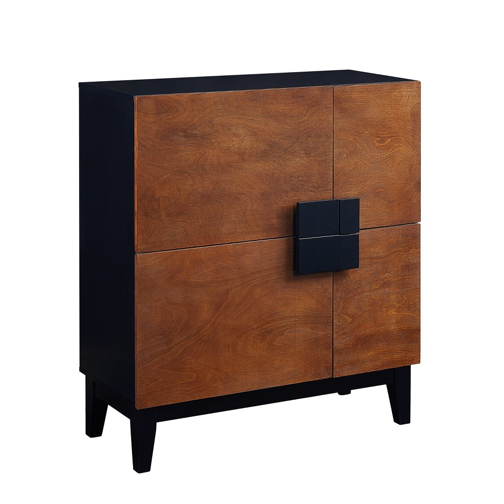 Hazle 4 Door Anywhere Cabinet Dark Tobacco With Black - Holly & Martin