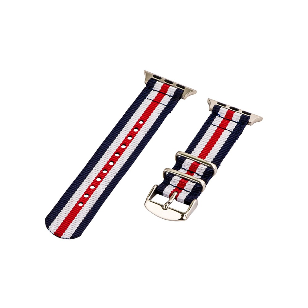 Clockwork Synergy Classic Nato 2 Apple Watch Band 42mm with Steel Adapter - Blue/Red/White, Adult Unisex, Multicolored Customize the look of your timepiece with the Classic Nato 2-Piece Apple Watch Band from Clockwork Synergy. Crafted from high-quality nylon, this red, white and blue watchband ensures long-lasting durability without sacrificing comfortable wear. With 11 adjustability holes, you'll get the perfect custom fit so your watch stays in place all day. Whether you show off the classic color scheme with your everyday wear, or you switch it out depending on your outfit, you'll love sporting a unique look that complements your style. Color: Multicolored. Gender: Unisex. Age Group: Adult.