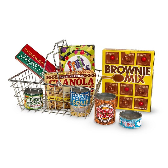 Melissa & Doug Pretend Play Toy Grocery Basket image number null