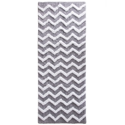 Chevron Bathroom Mat Silver- Yorkshire Home