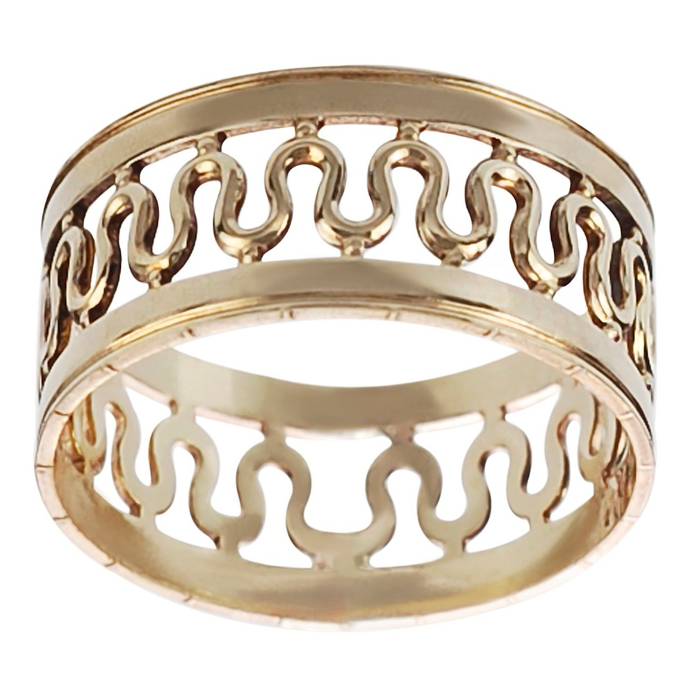 Women's Journee Collection Handcrafted Center Wave Band in Sterling Silver - Gold, 9