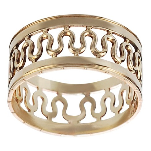 Women's Journee Collection Handcrafted Center Wave Band in Sterling Silver - Gold - image 1 of 2