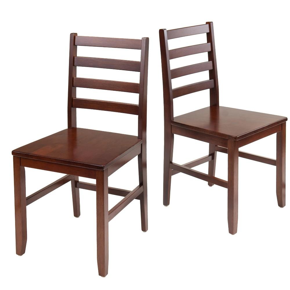 Hamilton 2 Piece Ladder Back Chair - Antique Walnut (Brown) - Winsome