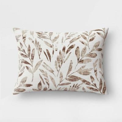 "14""x20"" Botanical Lumbar Throw Pillow Neutral - Threshold™"