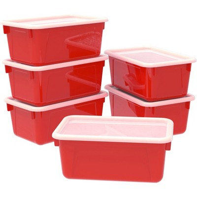 Storex 6pk Small Cubby Storage Bins with Cover - Red