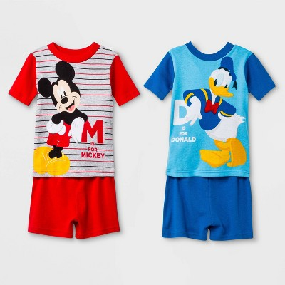Toddler Boys' 4pc Mickey Mouse Pajama Set - Red/Blue 2T