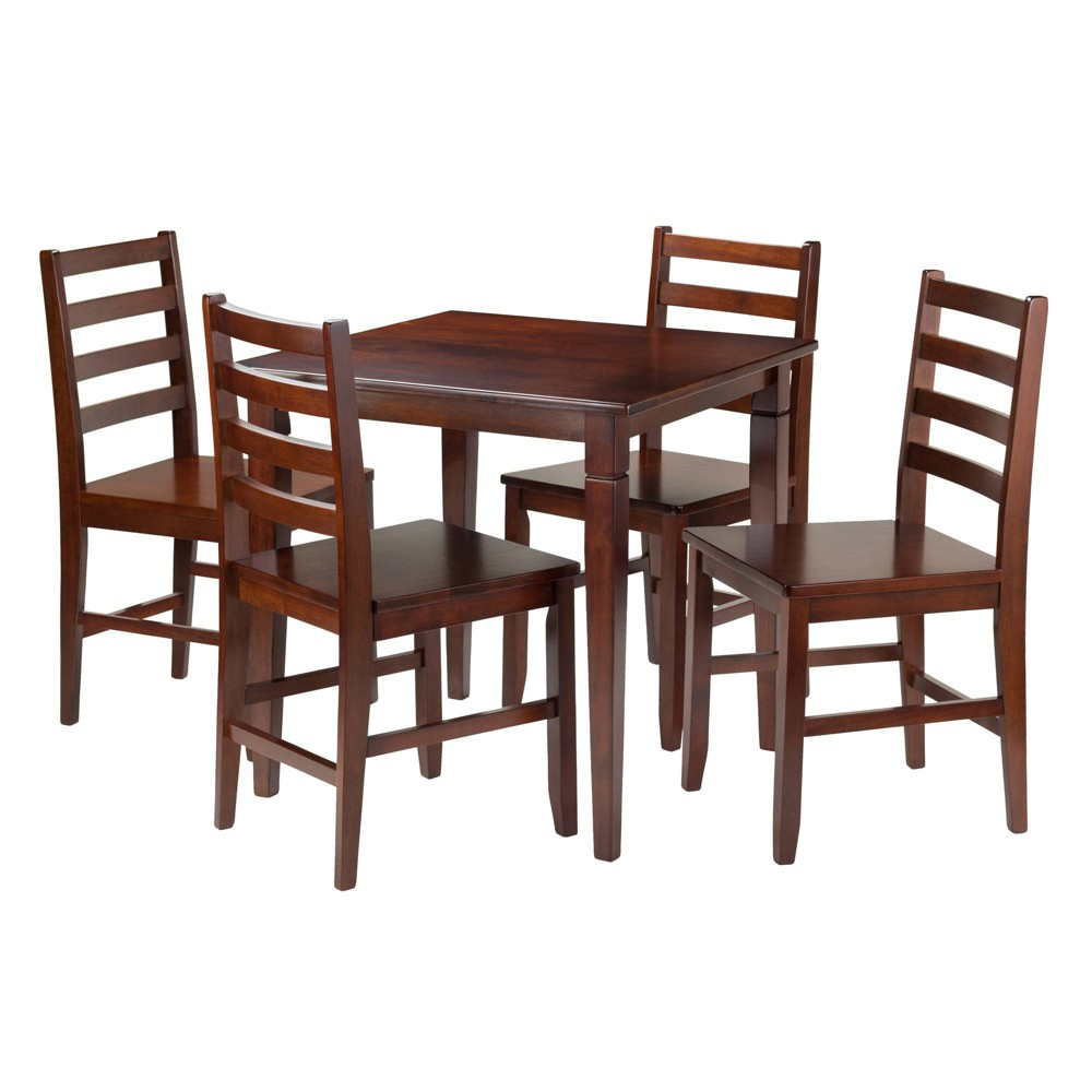 5 Piece Kingsgate Set Dining Table with Ladder Back Chairs Wood/Walnut (Brown) - Winsome