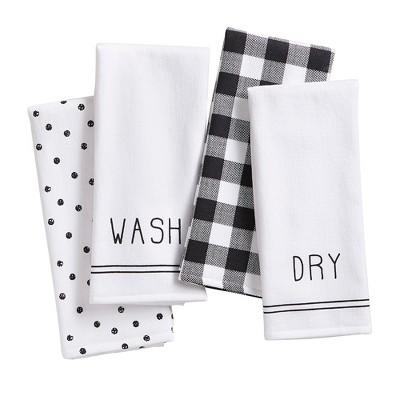 "Farmhouse Living Sentiments Kitchen Towels, Set of 4 - 18"" x 28"" - Black/White - Elrene Home Fashions"