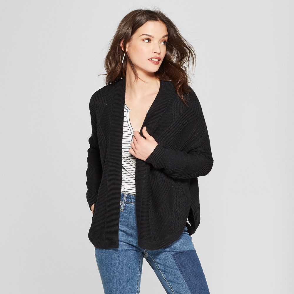 Women's Cable Open Cardigan - Universal Thread Black M