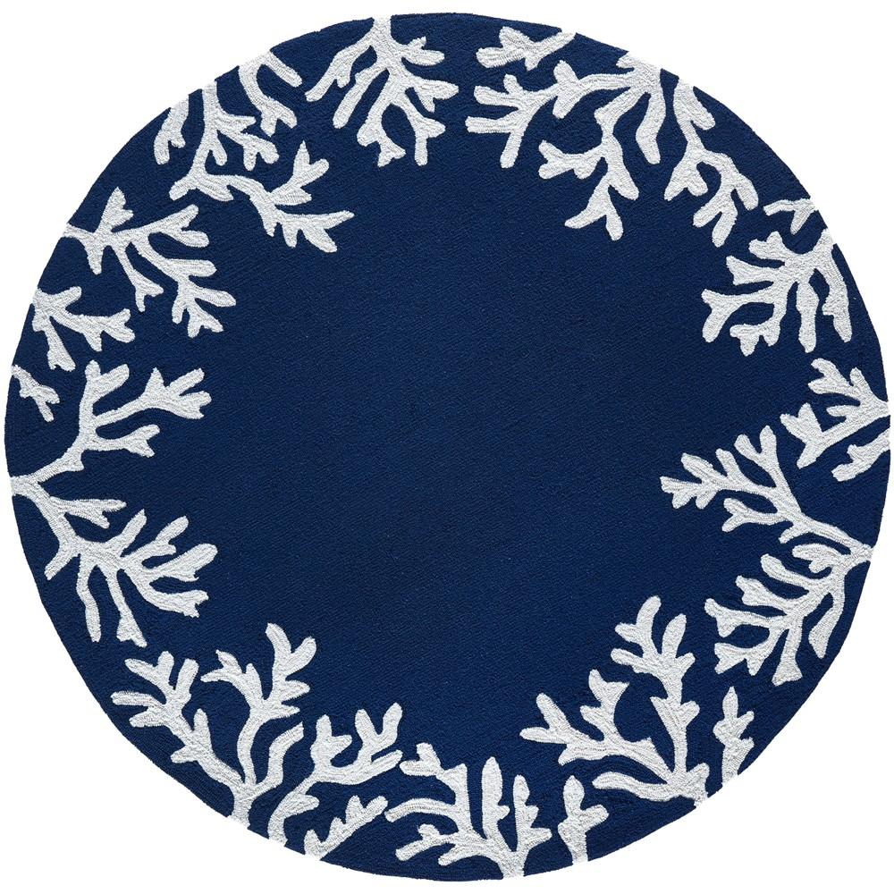 8' Coral Branch Round Area Rug Navy (Blue) - Liora Manne