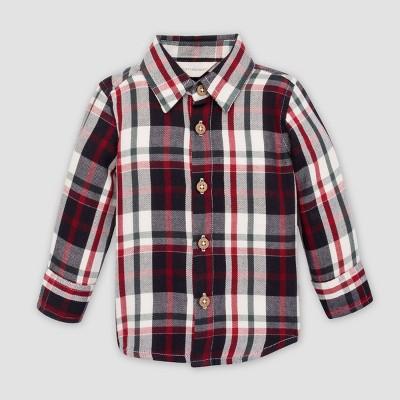 Burt's Bees Baby® Baby Boys' Poplin Multi Plaid Front Button Organic Cotton Shirt - 3-6M
