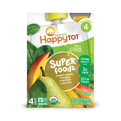 HappyTot Super Foods 4pk Organic Pears Mangos & Spinach with Super Chia - 16.88oz