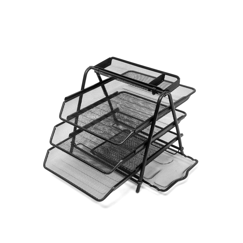 4 Tier Mesh Document Tray with Accessory Tray Black - Mind Reader