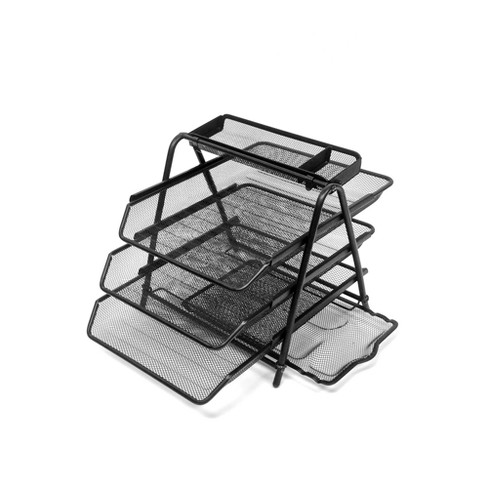 4 Tier Mesh Document Tray with Accessory Tray Black - Mind Reader - image 1 of 5