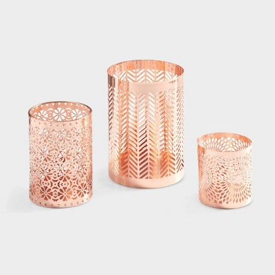 Set of 3 Filigree Hurricanes Rose Gold - Danya B.