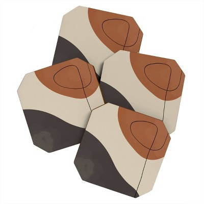 4pk Alisa Galitsyna Modern Abstract Shapes Coasters - society 6