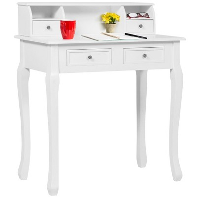 Best Choice Products 32in Colonial Writing Desk for Home Office Study w/ 4 Drawers, 2 Cubbies, Floating Hutch - White
