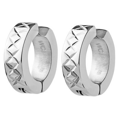 West Coast Jewelry Stainless Steel Cross-Hatch Hoop Earrings