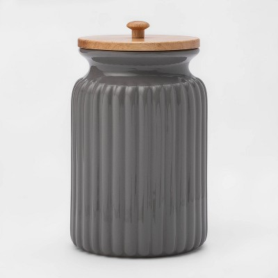 121oz Stoneware Ribbed Food Storage Canister with Wood Lid Gray - Threshold™