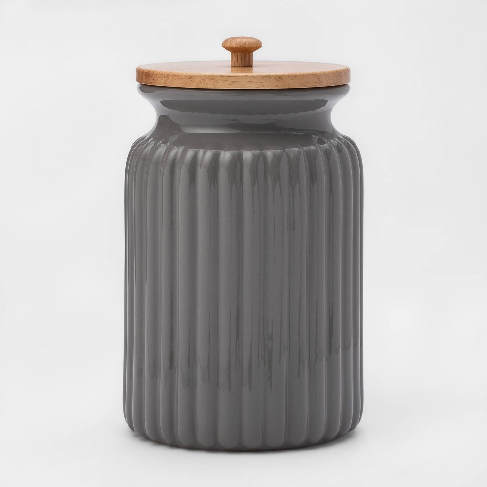 Image of 121oz Stoneware Ribbed Food Storage Canister with Wood Lid Gray - Threshold