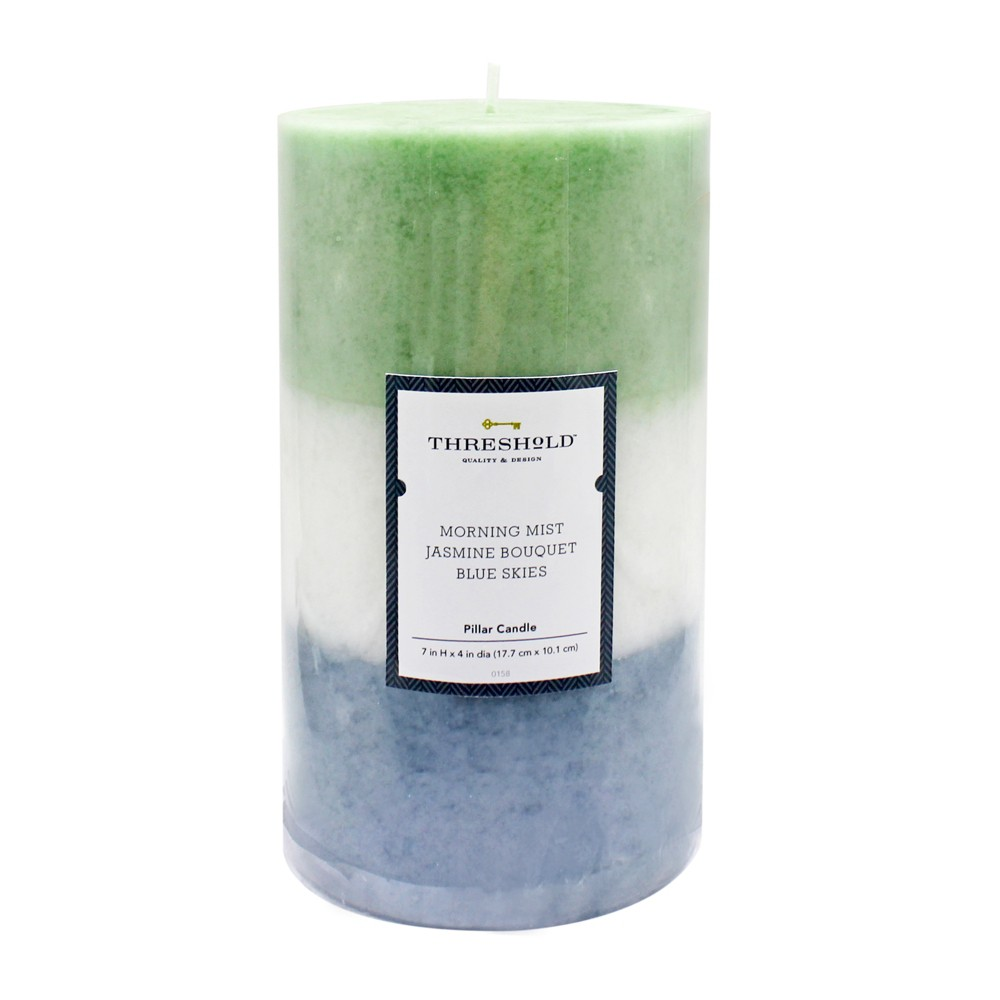"Image of ""7"""" x 4"""" Layered Mottled Pillar Candle Morning Mist/Jasmine Bouquet/Blue Skies - Threshold , White Green Blue"""
