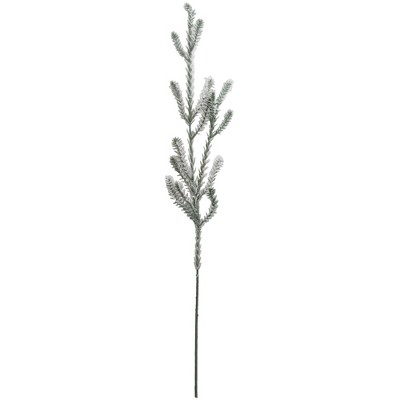 """Northlight 30"""" Green and White Sparkling Snow Flocked Artificial Pine Christmas Branch Spray"""