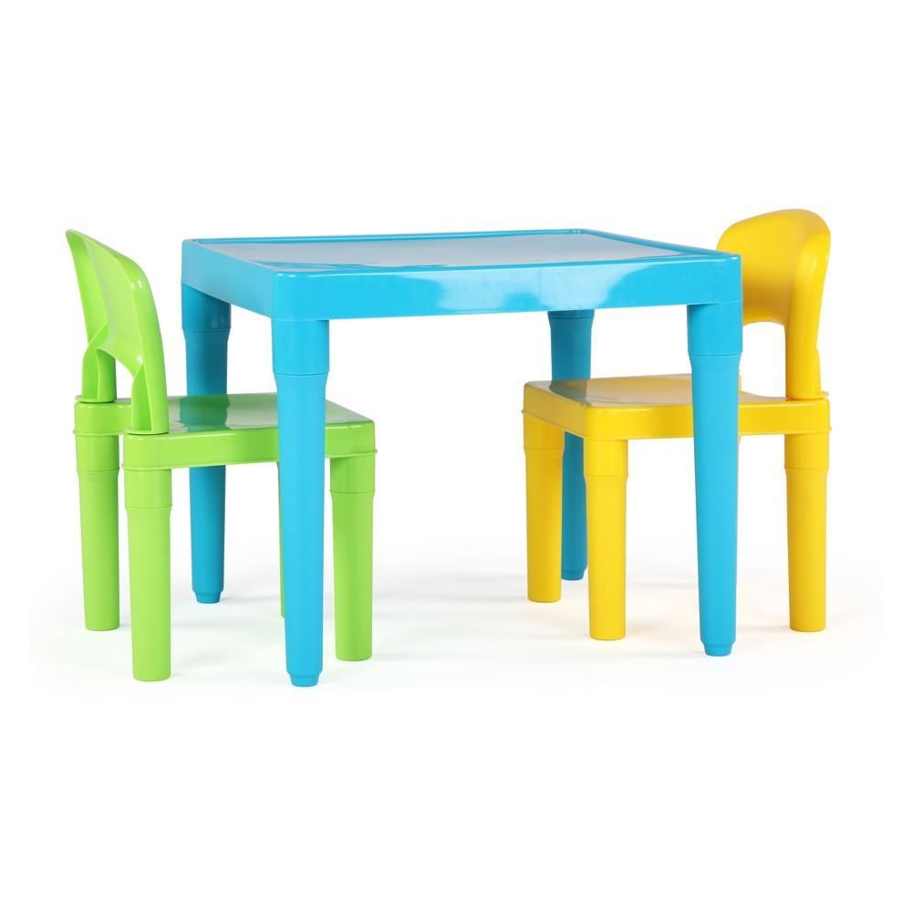 Tot Tutors Kids Plastic Table & 2 Chairs Aqua/Green, Mult...