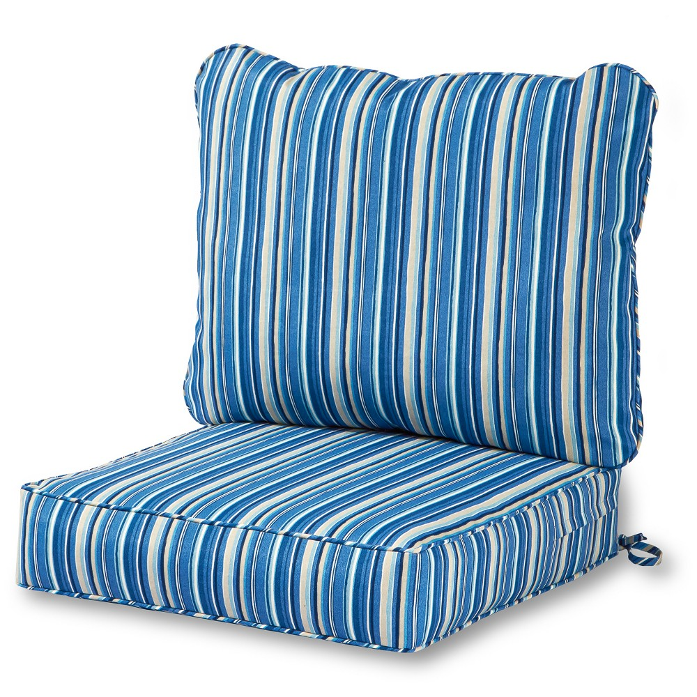 Image of 2pc Sapphire Stripe Outdoor Deep Seat Cushion Set - Kensington Garden, Blue