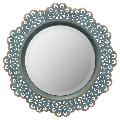 "12.5"" Decorative Floral Metal Lace Wall Mirror Dark Turquoise - Stonebriar Collection"
