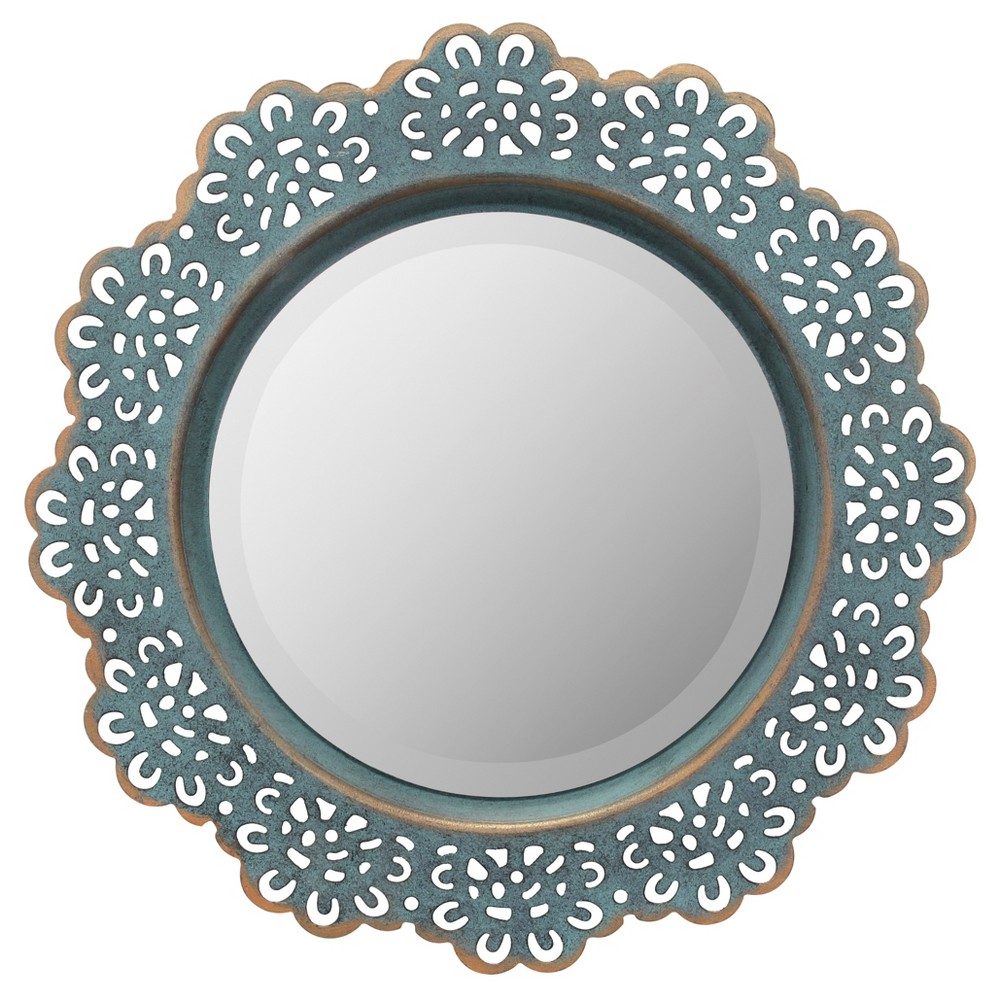 Image of Round Decorative Wall Mirror Blue Metal
