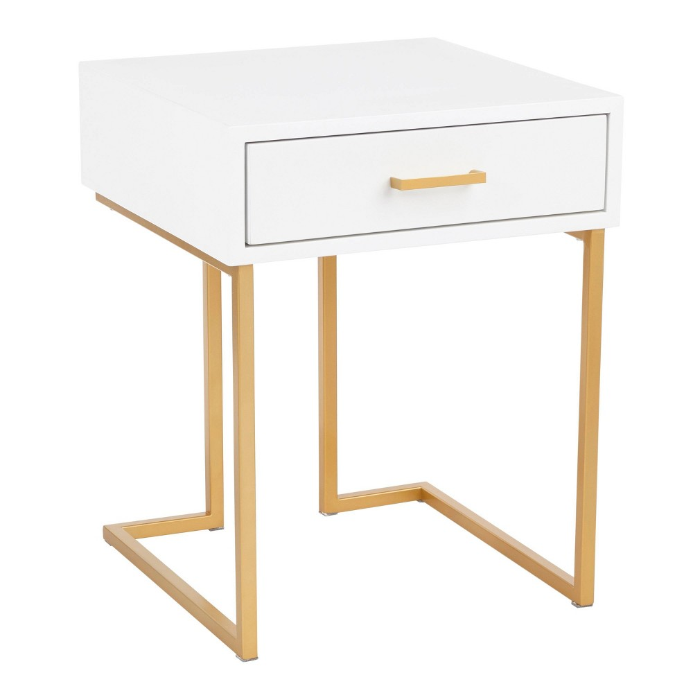 Midas Contemporary Side Table Gold/White - Lumisource