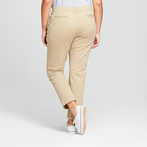a459ea9f649c1 Women s Plus Size Slim Chino Pants - A New Day™ Tan 22W   Target
