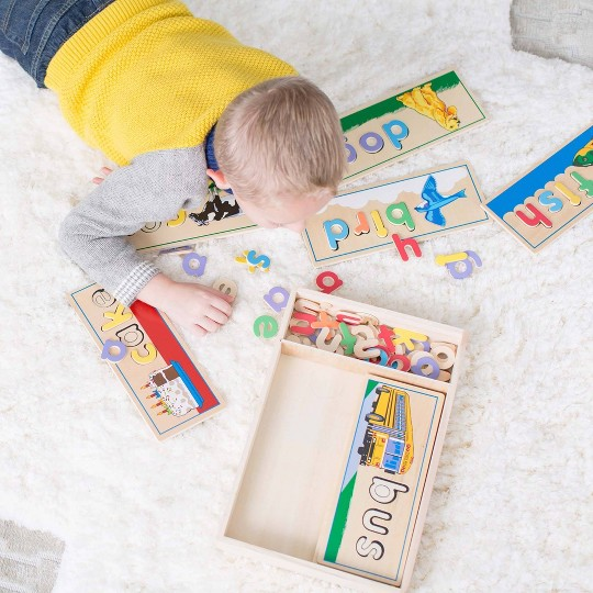 Melissa & Doug See & Spell Wooden Educational Toy With 8 Double-Sided Spelling Boards and 64 Letters image number null