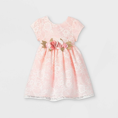 Mia & Mimi Toddler Girls' Floral Lace Short Sleeve Dress - Pink 5T