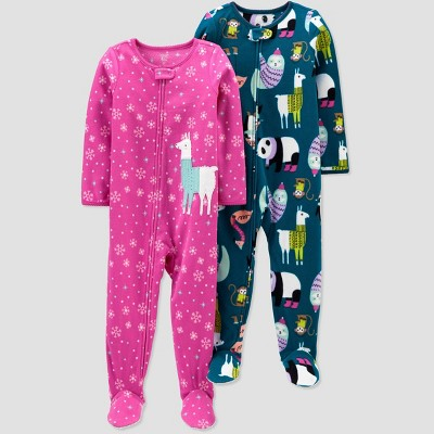 Baby Girls' 2pk Lama & Animal Fleece Footed Pajama - Just One You® made by carter's Pink/Blue 9M
