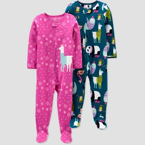 Toddler Girls' Lama & Animal Fleece Footed Pajama - Just One You® made by carter's Pink/Blue - image 1 of 1