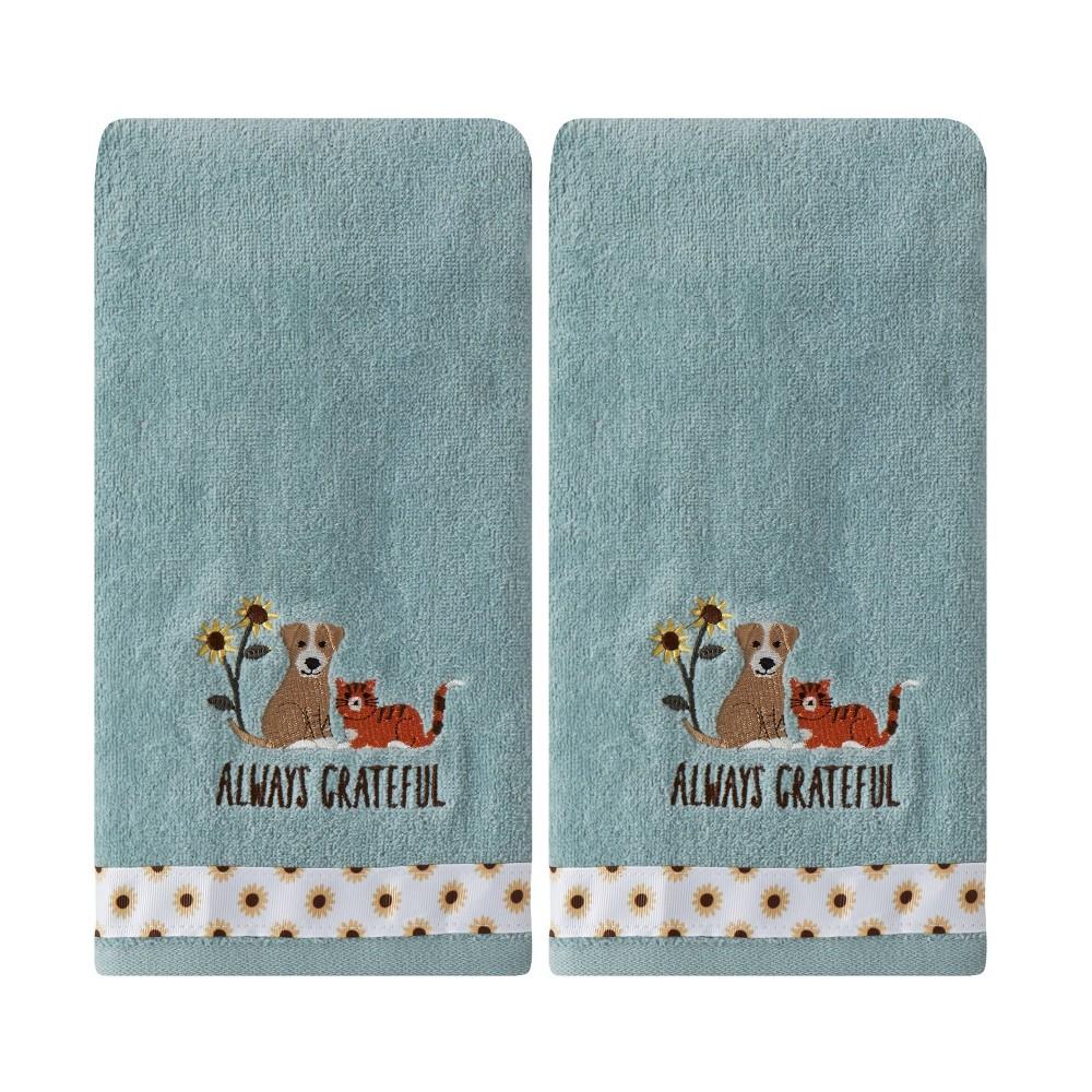Image of 2pc Always Grateful Pets Hand Towel Set Aqua - SKL Home, Blue