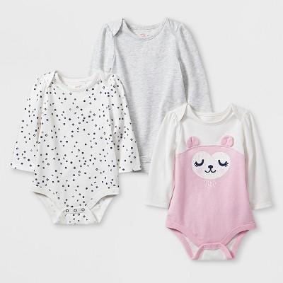 Baby Girls' 3pk Long Sleeve Bodysuit Set - Cat & Jack™ Light Pink/Gray 3-6M