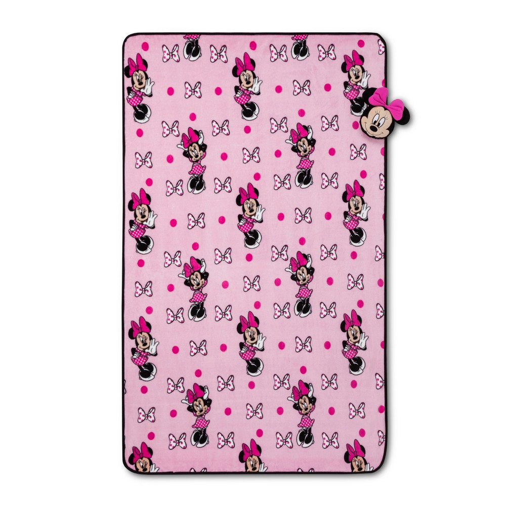 Image of Mickey Mouse & Friend Minnie Mouse Nogginz Blanket Set Pink