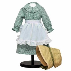 """The Queen's Treasures Little House on the Prairie Green Calico Dress, Bonnet & Apron for 18"""" American Girl Dolls"""