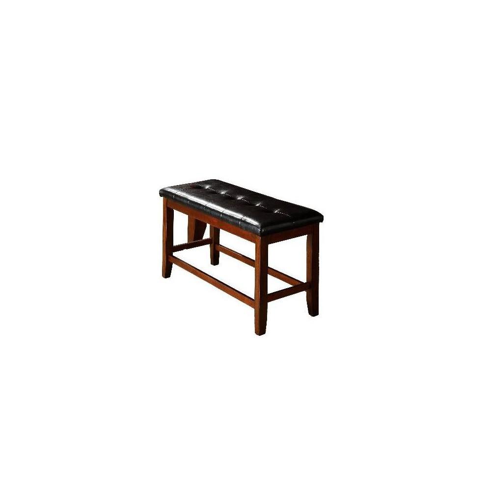 Wooden Bench with Tufted Seat Dark Benzara