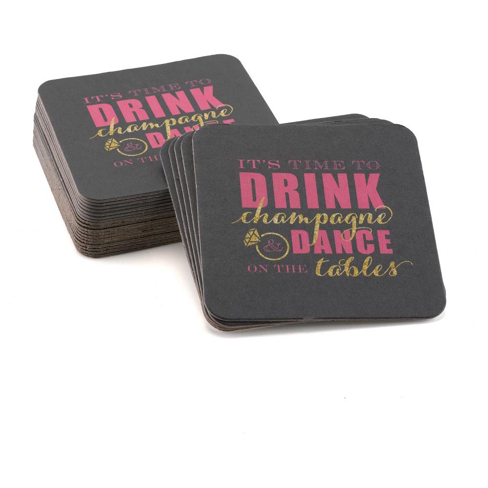 Image of Bachelorette Champagne Dance Coaster, Black