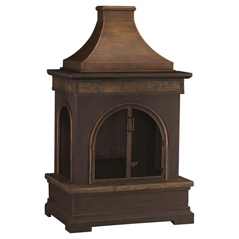 Sunjoy Amherst 56 Steel And Slate Outdoor Fireplace Target