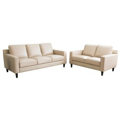 2pc Olivia Top Grain Leather Sofa & Loveseat - Abbyson Living