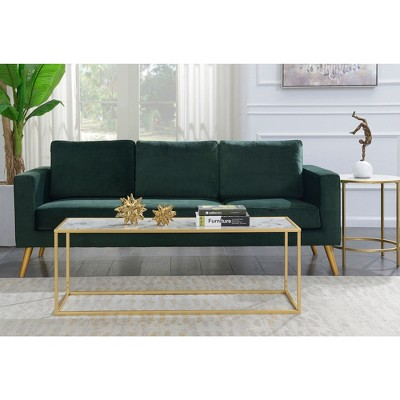 Gold Coast Faux Marble Rectangle Coffee Table White Faux Marble/Gold Frame - Breighton Home