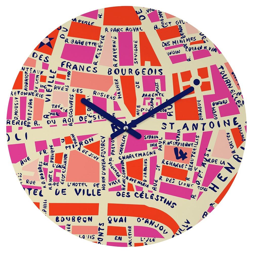 Holli Zollinger Paris Map Pink Round Wall Clock - Deny Designs