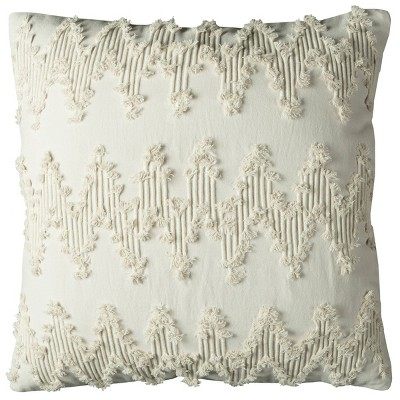 """20""""x20"""" Oversize Chevron Square Throw Pillow Cover Ivory - Rizzy Home"""