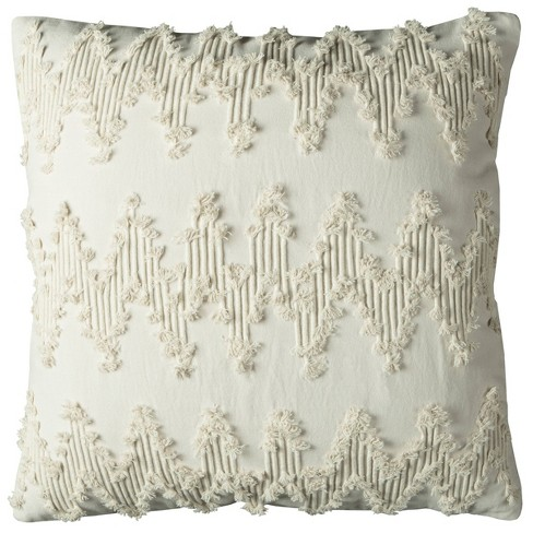"""20""""x20"""" Oversize Chevron Square Throw Pillow Cover Ivory - Rizzy Home - image 1 of 3"""