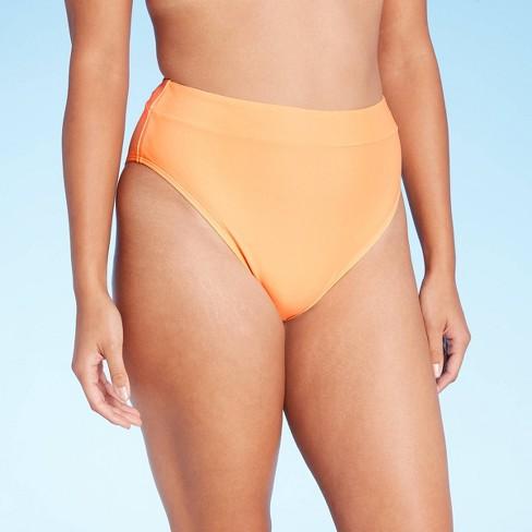 Juniors' High Leg High Waist Bikini Bottom - Xhilaration™ Electric Peach - image 1 of 4