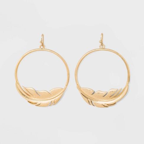 Icon Hoop Drop Earrings - Universal Thread™ Gold - image 1 of 3